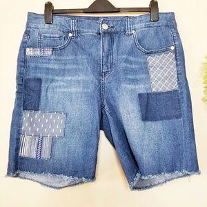 Melissa McCarthy   Patchwork Cutoff Denim Shorts